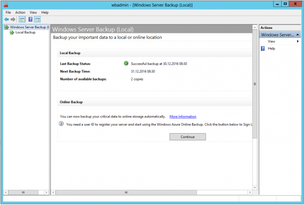 Windows Server Backup Konsole
