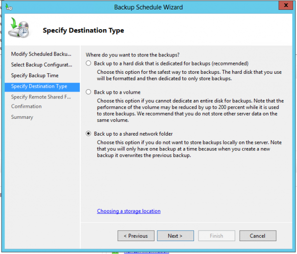 backup wizward windows server